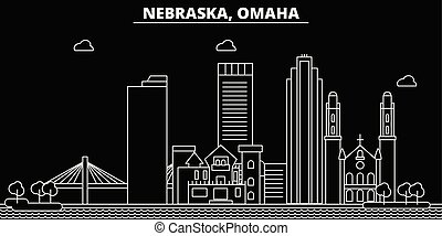 Omaha silhouette skyline. USA - Omaha vector city, american linear architecture, buildings. Omaha travel illustration, outline landmarks. USA flat icons, american line banner