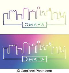 Omaha skyline. Colorful linear style. Editable vector file.