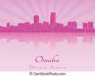 Omaha skyline in purple radiant orchid - Omaha skyline in...