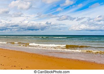 omaha, strand, en, av, den, d-day, stranden, av, normandie,...