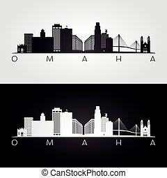 Omaha usa skyline and landmarks silhouette, black and white...