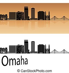 Omaha V2 skyline in orange - Omaha skyline in orange...
