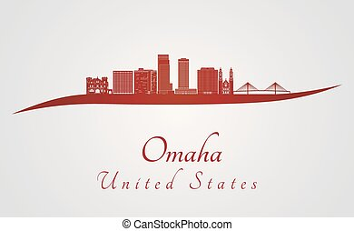 Omaha V2 skyline in red - Omaha skyline in red and gray...