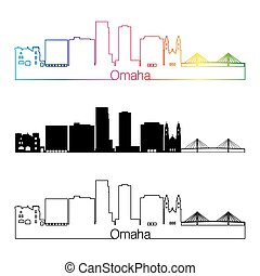 Omaha V2 skyline linear style with rainbow - Omaha skyline...