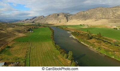Omak Farmland Foothills Okanogan River Highlands Washington...