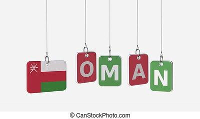OMAN caption and Omani flag on swinging plates, loopable...