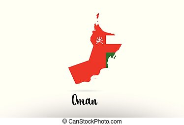Oman country flag inside map contour design icon logo
