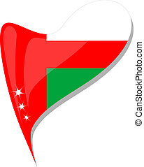Oman flag button heart shape. vector