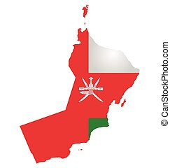 Flag of Sultanate of Oman overlaid on outline map isolated on white background