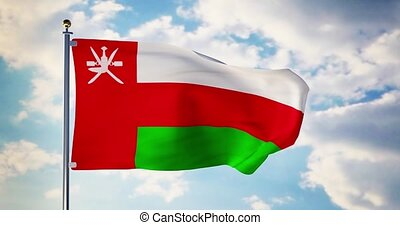 Oman flag waving in the wind shows omanian symbol of...