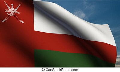 Oman Flag waving in wind with clouds in background