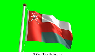 Oman flag (with green screen) - 3D Oman flag video (seamless...