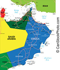 Highly detailed vector map of Oman with administrative regions, main cities and roads.