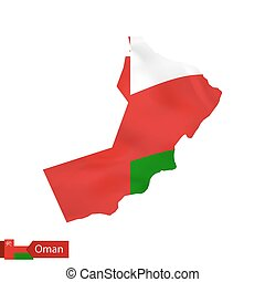 Oman map with waving flag of country.