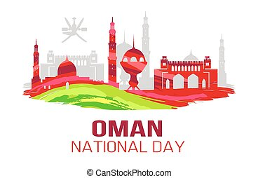 Oman National Day Symbol Vector Illustration Card