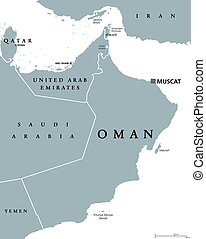 Oman political map with capital Muscat. Sultanate and Arab ...