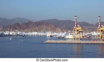 oman, port maritime, en mouvement, muscat, bateau, vue