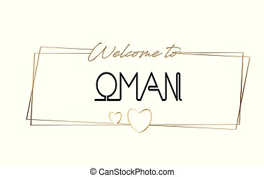 Oman Welcome to text Neon lettering typography. Word for logotype, badge, icon, postcard, logo, banner Vector Illustration.