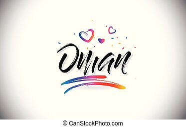 Oman Welcome To Word Text with Love Hearts and Creative Handwritten Font Design Vector.