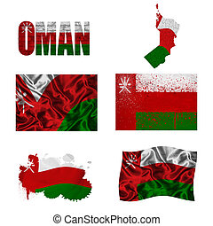 Oman flag and map in different styles in different textures