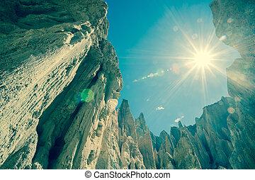 omarama, lera, cliffs., med, sunflare, kors, processed.
