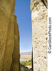 omarama, lera, klippor, synhåll, till, plains.