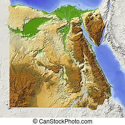 ombragé, carte soulagement, egypte