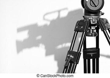 ombre, appareil photo, trépied