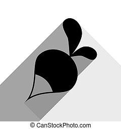 ombre, appartamento, grigio, semplice, ravanello, segno., due, fondo., nero, vector., bianco, icona