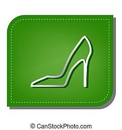 ombre, argent, écologique, rapiécé, femme, leaf., signe., ligne, chaussure, vert, illustration., sombre, icône, gradient