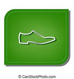 ombre, argent, leaf., rapiécé, écologique, signe., ligne, vert, illustration., chaussures, sombre, icône, gradient, hommes