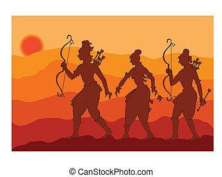 ombre, art, rama, sita, laxman