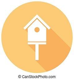 ombre, bird-house, long, icône