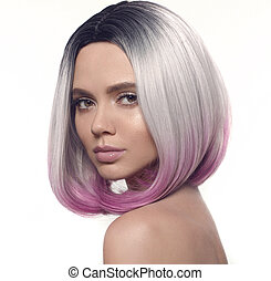 Ombre bob hairstyle girl portrait. Beautiful short hair coloring. Fashion Trendy haircut. Blond model with short shiny hairstyle. Concept Coloring Hair. Beauty Salon.