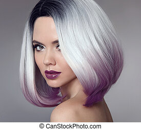 Ombre bob short hairstyle. Beautiful hair coloring woman. Trendy haircut. Blond model with short shiny hairstyle. Concept Coloring Hair. Beauty Salon.