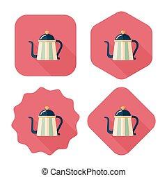 ombre, bouilloire, icône, eps10, café, long, plat