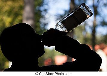 ombre, bouteille, alcoolique
