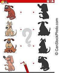ombre, chiens, pédagogique, caractères, jeu