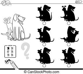 ombre, con, cani, educativo, colorare, libro