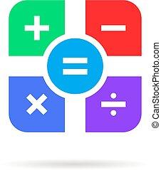 ombre, couleur, simple, icône, math