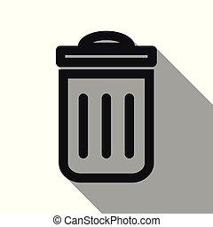 ombre, déchets ménagers, long, icône