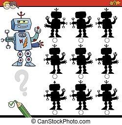 ombre, différences, jeu, robot