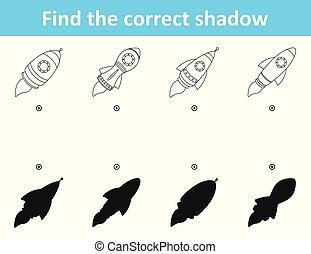 ombre, différences, trouver, fusée, correct