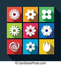 ombre, ensemble, fleur, long, icônes