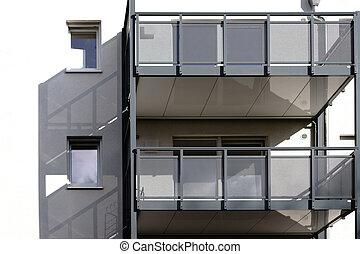 ombre, gettare, moderno, balcone