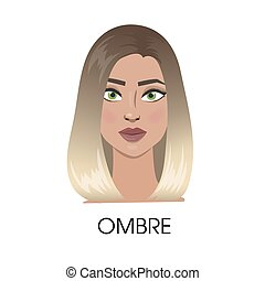 Ombre hair illustration.