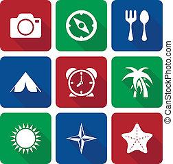 ombre, icone, vol, viaggiare, lungo, 2, bianco
