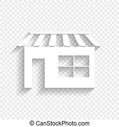 ombre, illustration., signe, arrière-plan., vector., blanc, doux, transparent, magasin, icône