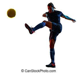 ombre, isolé, fond, football, silhouette, blanc, jeune, joueur