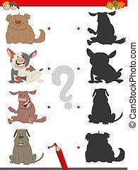 ombre, jeu, chiens, dessin animé